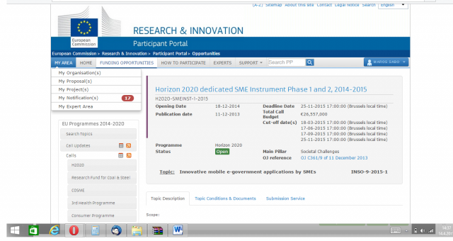 """""""Apps"""" trh – Horizon 2020 dedicated SME Instrument Phase 1 and 2, 2014-2015"""